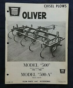 """1962 OLIVER """"No. 500 500-A Series TRACTOR CHISEL PLOW"""" PARTS CATALOG MANUAL NICE"""