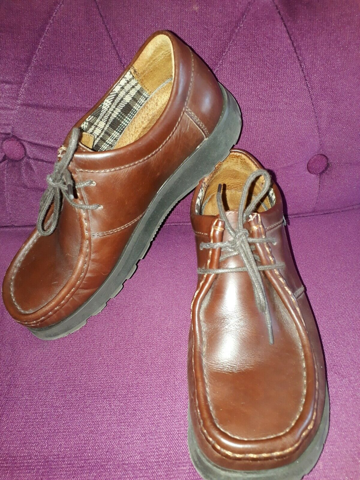 IKON MID BROWN LEATHER LACE UP PASTIE SHOES SIZE 6 EU 40 - VGC