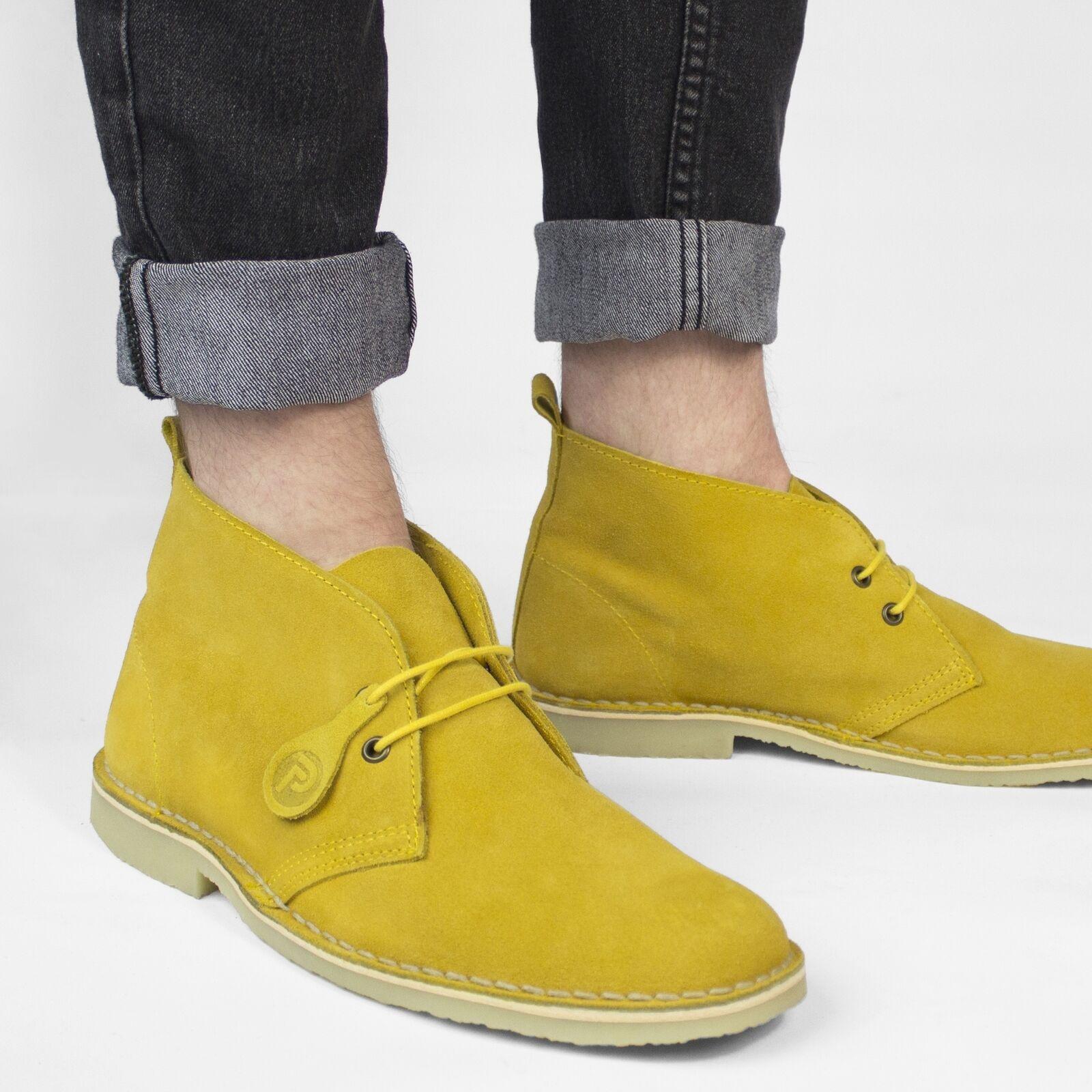 Popps COLOUR Unisex Mens Ladies Summer Suede Chukka Desert Boots Mustard Yellow