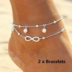 2-X-Infini-Perle-Cheville-Bracelet-925-Plaque-Argent-de-Chaine