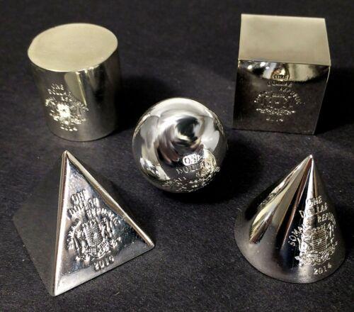 5 Unusual Shaped Coins The Year of Math RARE! 2014 Somalia 3D Geometric Shapes