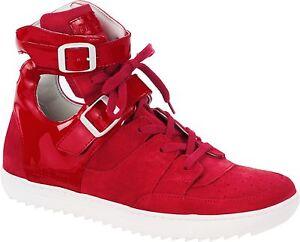 Discounter Bestbewertet authentisch gut aussehen Schuhe verkaufen Details zu Birkenstock Thessalonik 1004558 Leder Sneaker Damen Knöchel  Schnürer rot normal
