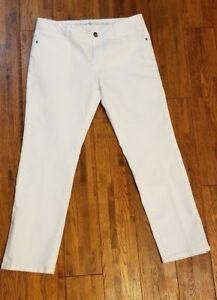 Simply-Vera-Wang-Roll-Cuff-Capri-White-Jeans-Denim-Sz-8-White-Pants-Summer
