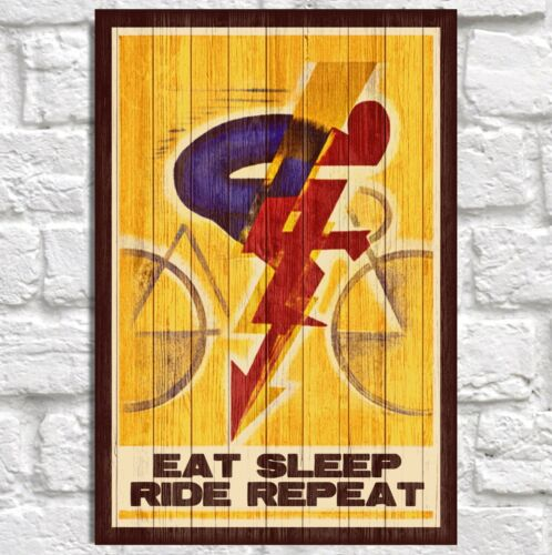 Cycling Quote Wood Print Eat Sleep Ride Repeat Husband Anniversary Gift for Wife