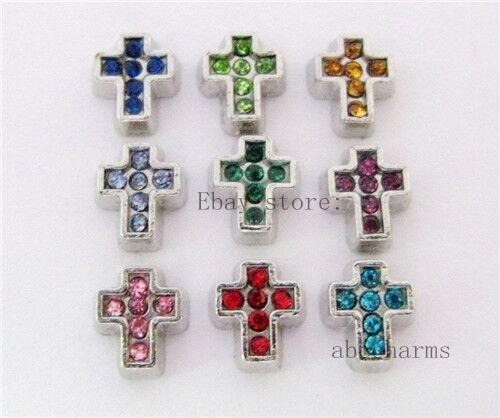 10pcs cristal croix Flottant Charms Pour Mémoire vivante Médaillon livraison gratuite FC199