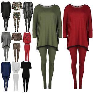 Ladies Pom Pom Trim Lounge Suit Womens Batwing Top Loungewear Tracksuit UK 8-26