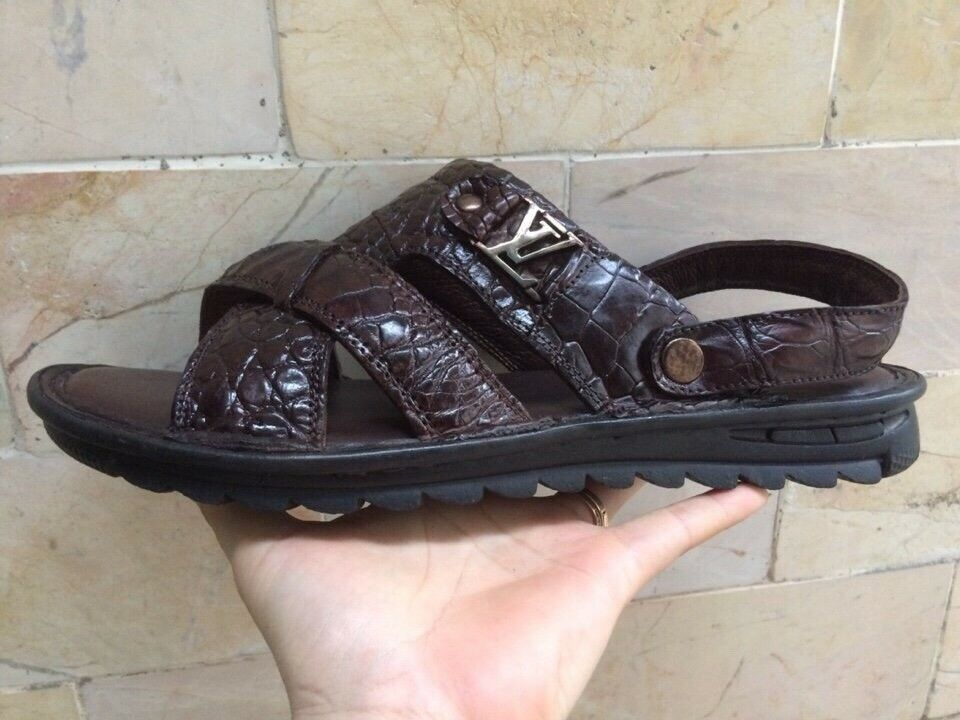 Autentisk -Alligator -Crocodile -Skin -Skin -Skin -bspringaaa läder -Sandal VSD03  100% passform garanti