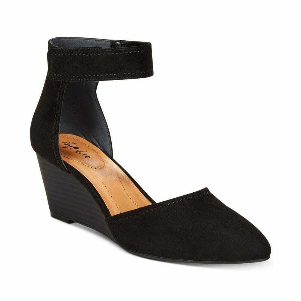 Women's Style & Co Yarah Two-Piece Wedge Pumps Black