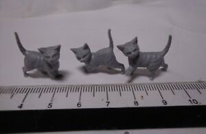 1-12th-Scale-Three-Grey-Kittens-Doll-House-Miniature-Cats-Pets-Animals