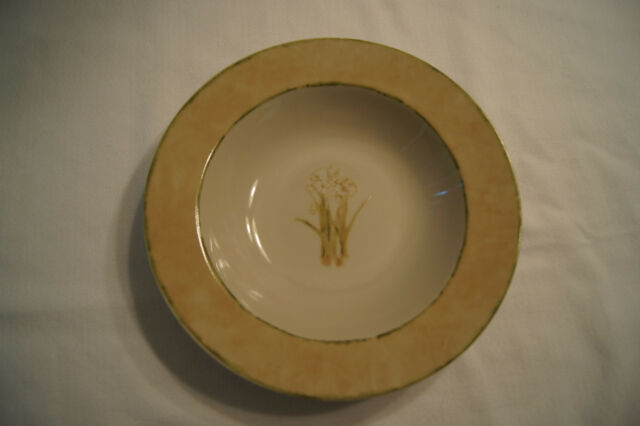 222 FIFTH CHERI BLUM Narcissus (3) Large Rimmed Soup Bowl White Flwers FREE SHIP