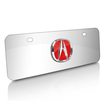 Acura 3D Logo Chrome Steel Half-size License Plate