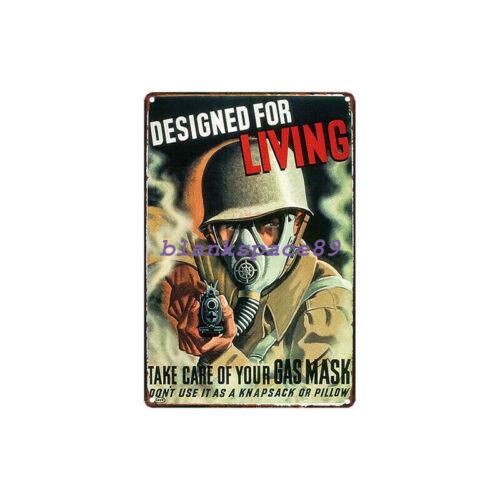 Metal Tin Sign gas mask  Bar Pub Home Vintage Retro Poster Cafe ART