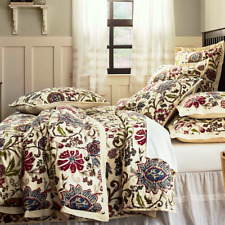 HOPE Full Queen QUILT SET : GARDEN FLORAL COUNTRY COTTAGE PURPLE GREEN IVORY