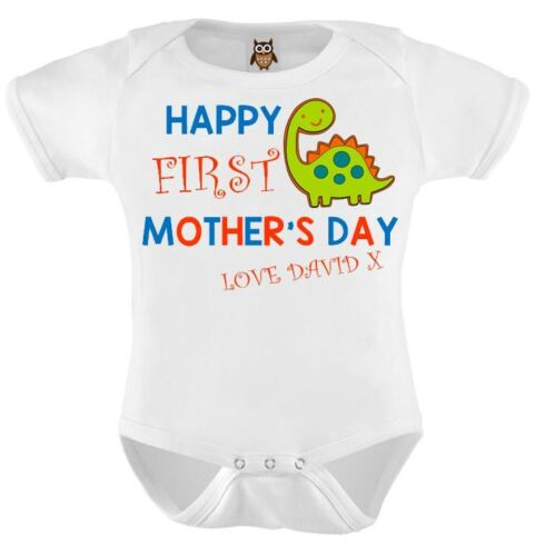 Mothers Day Baby Bodysuit Happy 1st Mothers Day Blue Dinosaur Baby Vest 123