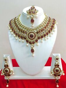 Indian-Bollywood-Style-Diamante-Kundan-Pearl-Gold-Tone-Bridal-Jewelry-Set