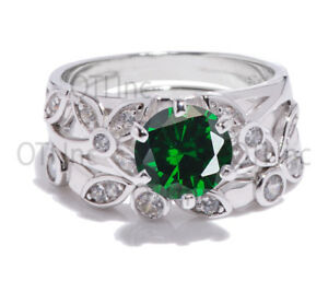 Brilliant-Emerald-Engagement-Wedding-Plumeria-Nature-Ivy-Leaf-Silver-Ring-Set