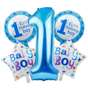 Image Is Loading 25Pcs First Baby Birthday Foil Balloon Set Kid