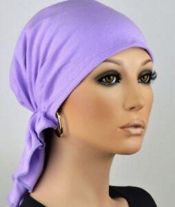 Damen Kopftuch Bandana Mütze Violett Lila ohne Binden Cap Jersey bequem Chemo