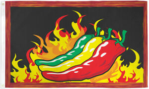 Chilies Flag 3x5ft Spicy Chili Banner Sign Novelty Flag Flaming Chilies Flag-New