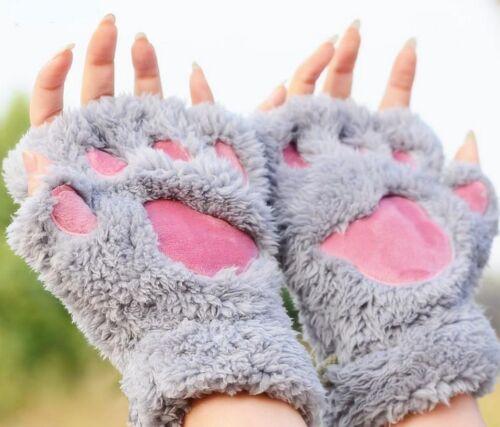 Super Cosy Bear Cat Paw Fluffy Gloves Winter Warm Plush Half Finger Fingerless