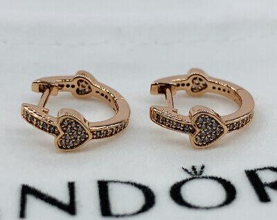 NEW PANDORA ROSE GOLD ALLURING HEARTS HOOPS EARRINGS | eBay