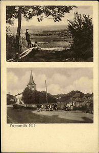 Fremonville-Lothringen-AK-1-Weltkrieg-Guerre-War-I-Dorfpartie-Kirche-um-1915