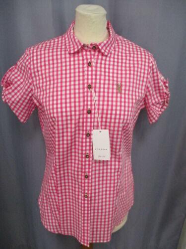 Eterna 6548 59 HY88  Modische  Trachtenbluse Kurzarm Pink//Weiß kariert