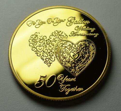 50th Doré Anniversaire De Mariage 24 ct Or COMMEMORATIVE EN CAPSULE Cadeau//Présent