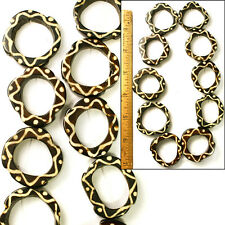 "LG ROUND 1 1/2"" African Antiqued Batik Mud Cloth Natural Bone Donut Beads 10pc"