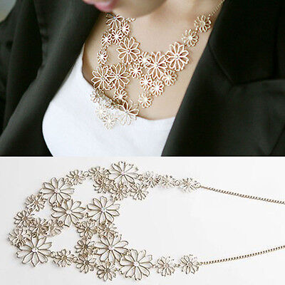 Women Fashion Gold P Chain Jewelry Flower Bib Choker Pendant Statement Necklace