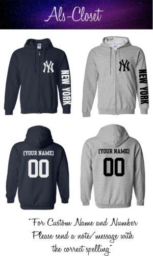 New York Yankees Logo Baseball Zip Up Hooded Sweatshirt with Custom Name