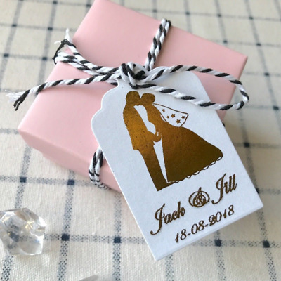 16x Gold Foil Favour Paper Tags Personalised Wedding Engagement Gift