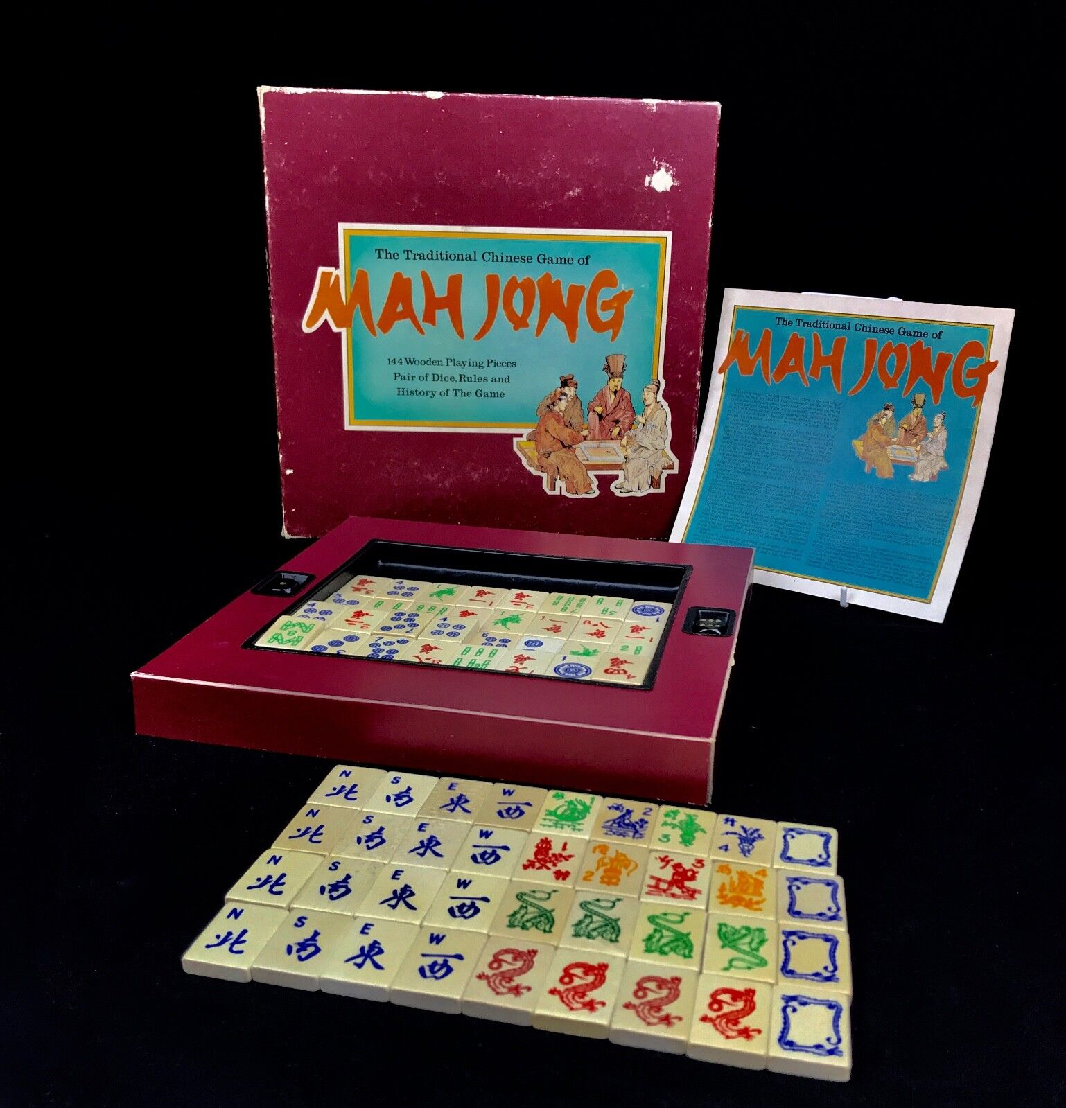 Vintage Wooden Mahjong Set In Original Box   Mah Jong Game   20th Century