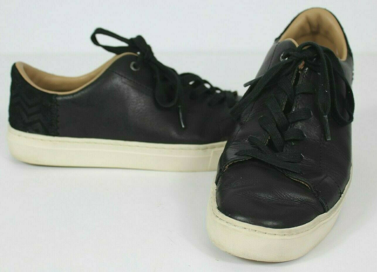 Toms Womens Size 10 Black Leather Lace Up Tie Shoes Chevron Heel Casual Comfort