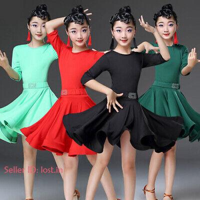 Children Girls Dancewear Latin Jazz Dance Dress Long Sleeve Costume Fashion New