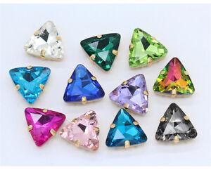 20pcs-Sew-On-18mm-triangle-rhinestone-cut-glass-cabochons-crystal-gold-claw