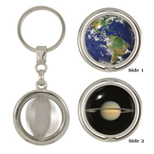 Earth & SATURNO filatura PORTACHIAVI SPAZIO NASA ASTRONOMIA CLUB ASTRONOMO Lunar NUOVO
