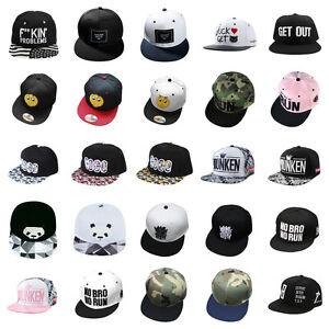 Women Men\\\'s Bboy Brim Adjustable Baseball Cap Snapback Hip-Hop Hat Unisex Cap