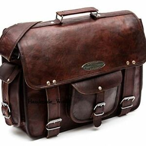 6ff7e437b9 Image is loading Men-Leather-Briefcase-Backpack-Messenger-Cross-body-Laptop-