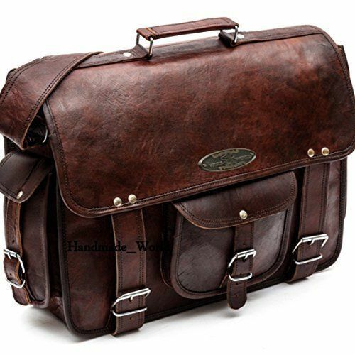 Leather Vintage Messenger Shoulder Men Satchel Women Laptop School Briefcase Bag