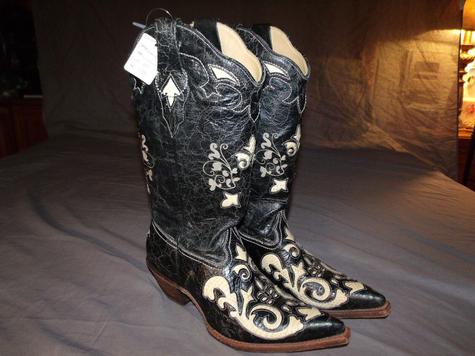 Nuevo, Corral C2116 Negro para Mujer con incrustaciones de de de marfil Lagarto Vaquera botas 7.0M  varios tamaños