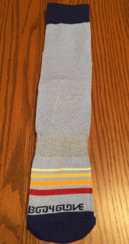 Body Glove Mens Crew Socks Rainbow Hot Sox Funky Athletic Blue Multi Stripes L