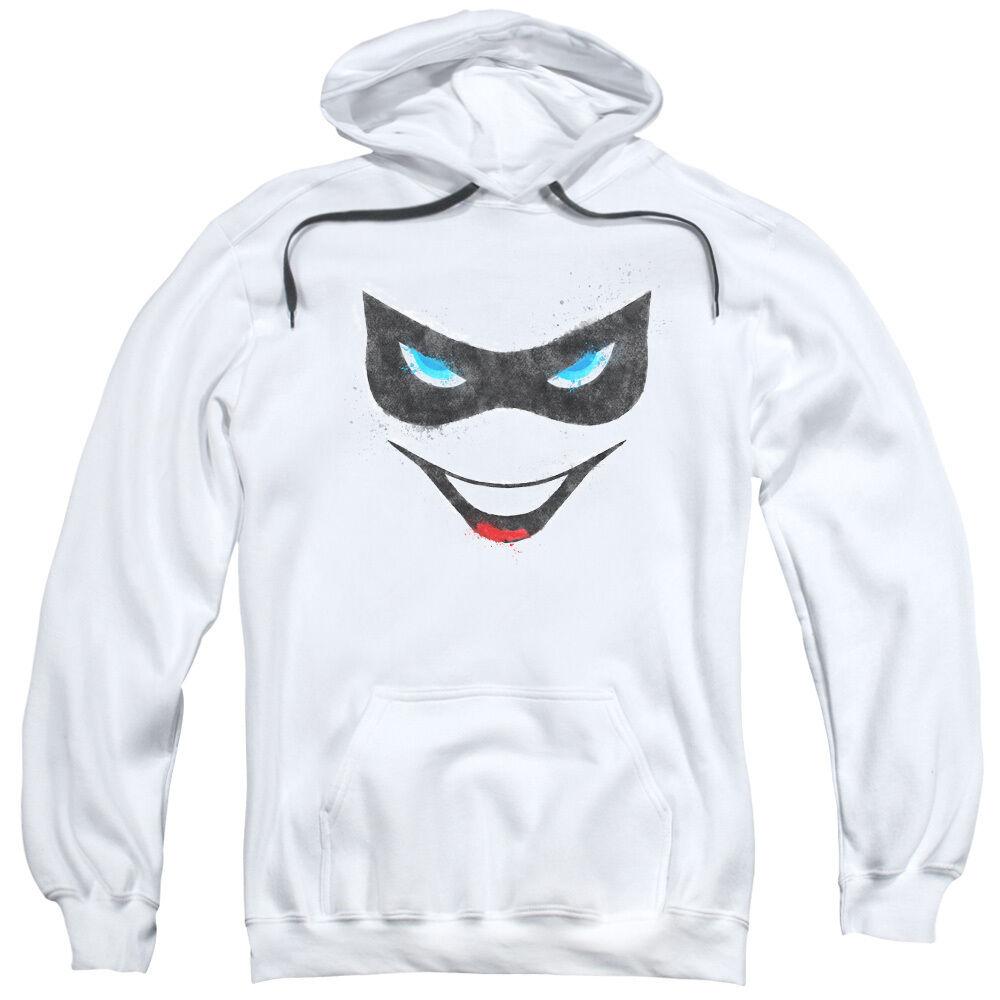 Batman Simplified HARLEY QUINN FACE Mask & Smile Licensed Sweatshirt Hoodie