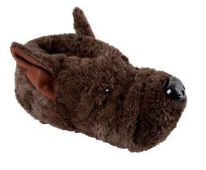 Mens-Novelty-Brown-Dog-Slippers