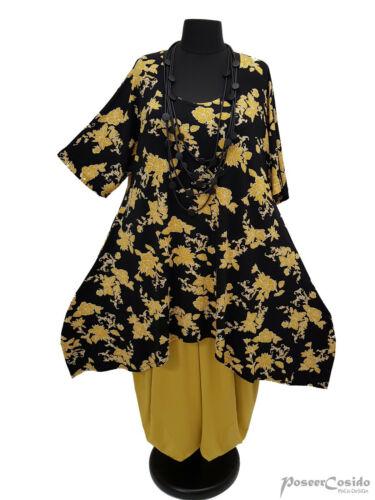 LAGENLOOK Tunika Long-Shirt schwarz gelb 44 46 48 50 52 54 56 58 L-XL-XXL-XXXL