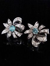 EDWARDIAN 18CT WHITE GOLD NATURAL BLUE ZIRCON DIAMOND CLUSTER EARRINGS
