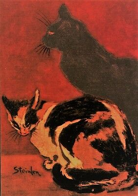 Grußkarte Pierrot und die Katze Reprint einer Malerei von Théophile Steinlen