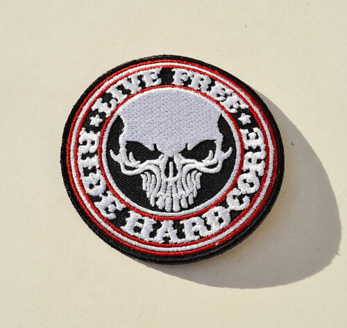 badge ricamate Hardcore live free Biker aufbügler Skull patch