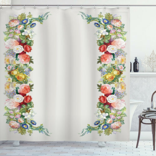 Ambesonne Bathroom Curtain Set Waterproof Non-vinyl Printed Decor