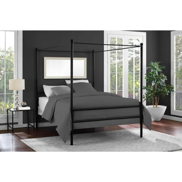 Mainstays Metal Canopy Bed Frame Platform Queen Size Black Slats Bedroom Modern